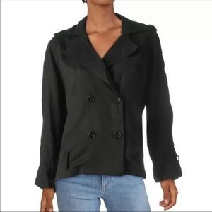 ESSUE Women's Jacket Black belted Size Small